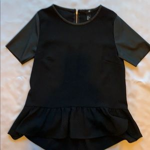 H & M black hi- lo top with faux leather sleeves